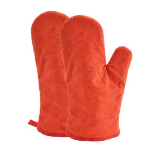 1 Pair Heat Resistant Thicken Oven Mitts For Cooking Or Baking (A8)