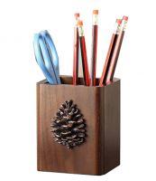 Retro Wooden Pencil Holders Desk Storage Box Makeup Case Box(9x8.2x11CM)