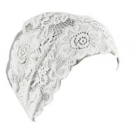 Length Beautiful Waterproof PU Tab Lace Swimming Cap Female Free Size(Silver)