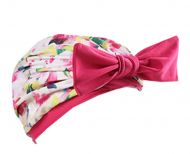 Female Beautiful Bowknot Waterproof PU Tab Lace Swimming Cap Free Size (Red)