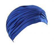 Female Waterproof PU Tab Lace Swimming Cap Free Size (Blue)