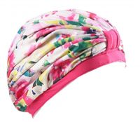 Female Beautiful Flower Waterproof PU Tab Lace Swimming Cap Free Size