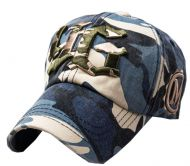 Outdoor Adjustable Unisex Cool Baseball Cap Summer Hat Cotton Free Size(Blue)