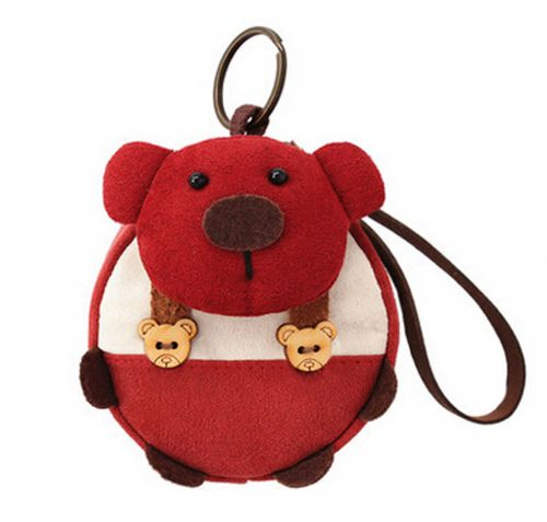 [Red]Small Pocket Purse Animal Case Zipper Pouch Wallet Bag 3.94